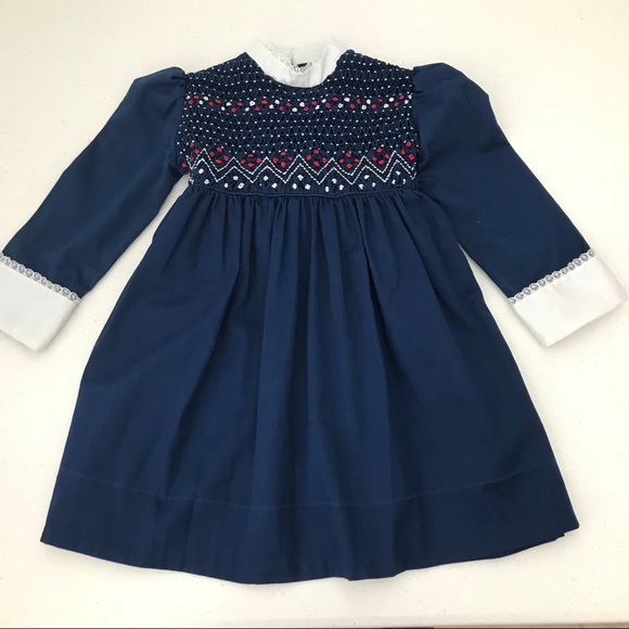 9f9401b9c Polly Flinders Dresses | Girls Dress Smocked Long Sleeve Vintage ...